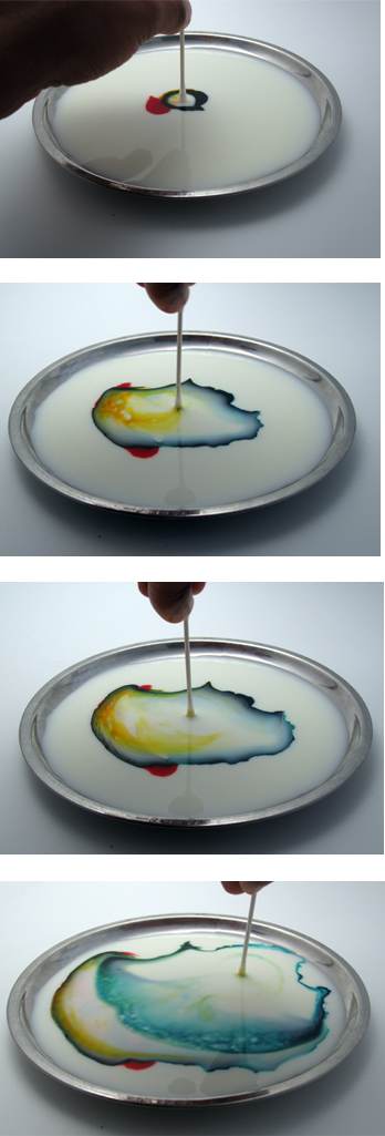 put the q tip in the middle of the food coloring and watch what happens!